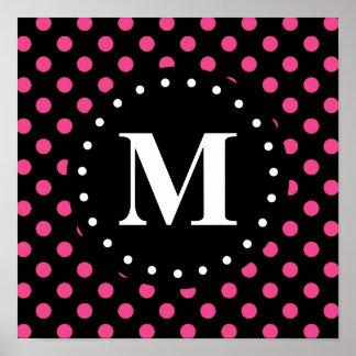 Monograma negro de los lunares de las rosas fuerte impresiones