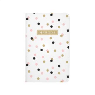 Monograma negro de los puntos del confeti del rosa cuaderno grapado