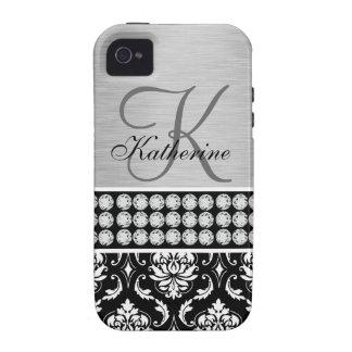 Monograma negro de plata del nombre del damasco vibe iPhone 4 fundas