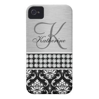 Monograma negro de plata del nombre del damasco iPhone 4 Case-Mate cobertura