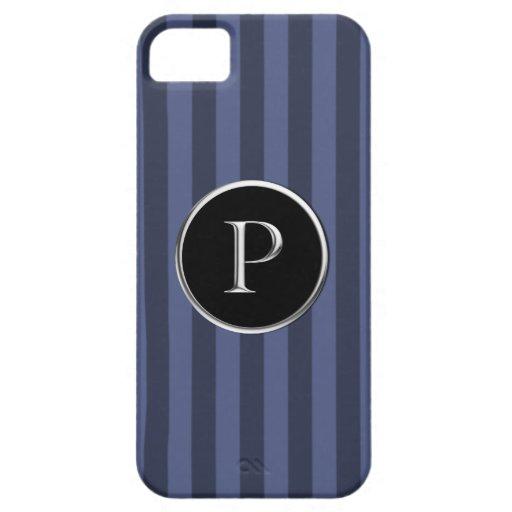 Monograma negro/de plata rayado azul de Caslon P iPhone 5 Carcasas