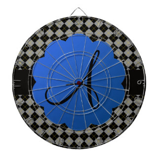 Monograma negro del argyle tabla dardos