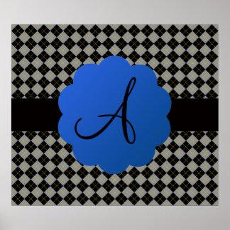 Monograma negro del argyle posters