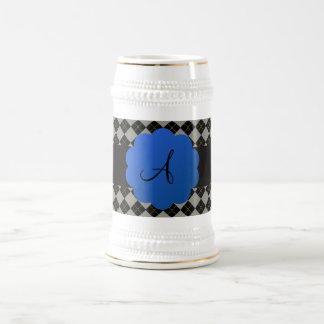 Monograma negro del argyle jarra de cerveza
