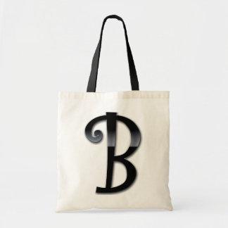 Monograma negro del lustre - B Bolsa De Mano