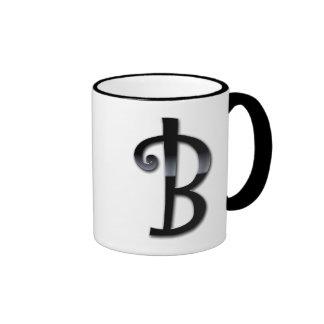 Monograma negro del lustre - B Taza A Dos Colores