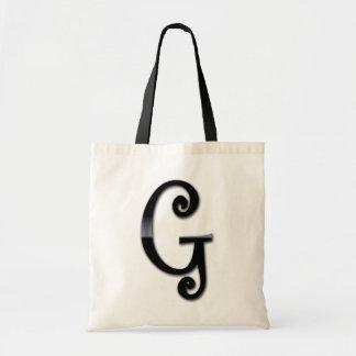 Monograma negro del lustre - G Bolsa Tela Barata