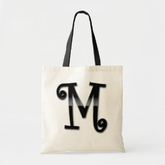 Monograma negro del lustre - M Bolsas De Mano