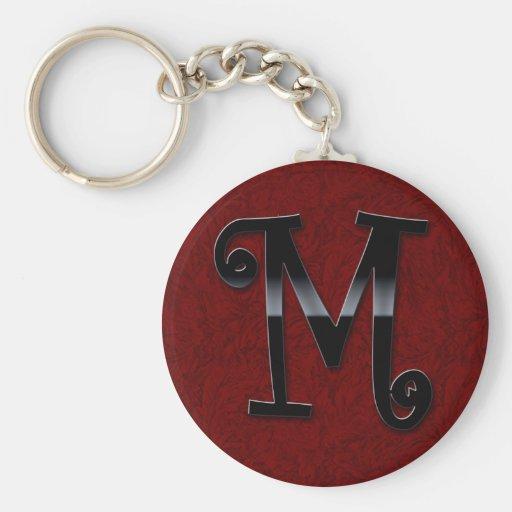 Monograma negro del lustre - M Llaveros Personalizados