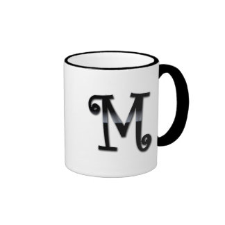 Monograma negro del lustre - M Tazas