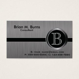 Monograma negro ejecutivo del acero del cepillo tarjetas de visita