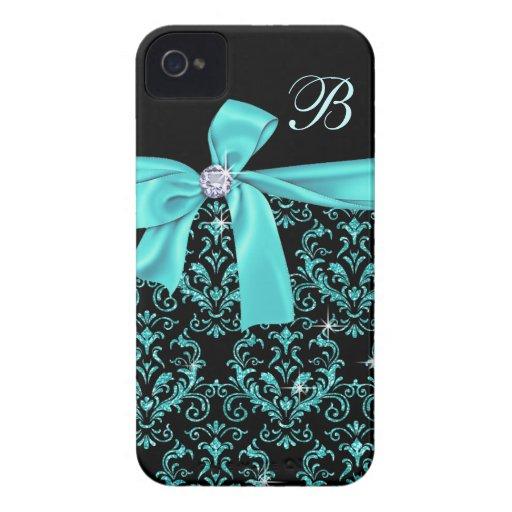 Monograma negro elegante del arco del diamante del iPhone 4 carcasas