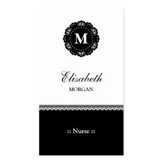 Monograma negro elegante del cordón de la tarjetas de visita