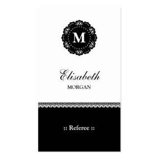 Monograma negro elegante del cordón del árbitro tarjetas de visita