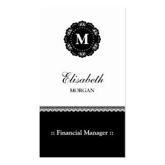 Monograma negro elegante del cordón del encargado tarjetas de visita