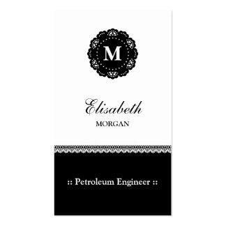 Monograma negro elegante del cordón del ingeniero tarjetas de visita