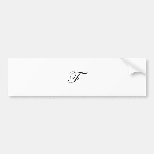 Monograma negro F Etiqueta De Parachoque