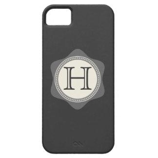 Monograma, negro, gris, caja de la nata iPhone5 iPhone 5 Funda