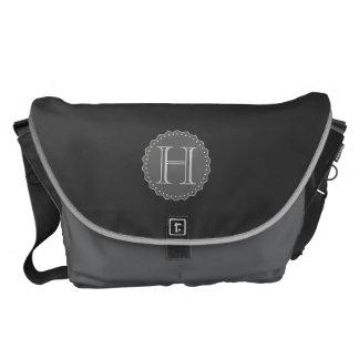 Monograma, negro, gris, la bolsa de mensajero blan bolsas de mensajeria