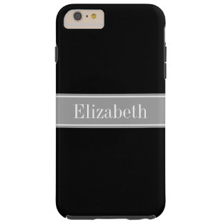 Monograma negro, gris oscuro sólido del nombre de funda de iPhone 6 plus tough