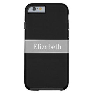 Monograma negro, gris oscuro sólido del nombre de funda de iPhone 6 tough