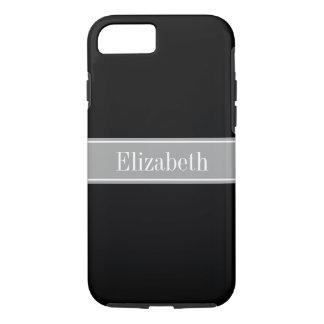 Monograma negro, gris oscuro sólido del nombre de funda iPhone 7