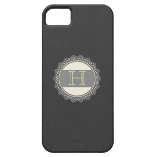 Monograma, negro, gris, verde verde oliva, caso funda para iPhone SE/5/5s