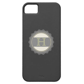 Monograma, negro, gris, verde verde oliva, caso iPhone 5 carcasa