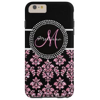 Monograma negro impreso brillo rosado femenino del funda de iPhone 6 plus tough