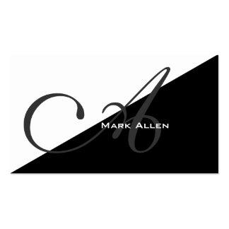 Monograma negro moderno básico del triángulo plantilla de tarjeta personal