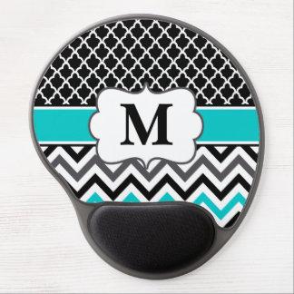 Monograma negro Mousepad de Chevron del trullo Alfombrilla Con Gel