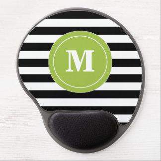 Monograma negro Mousepad de la raya de la cal Alfombrilla Gel