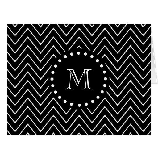 Monograma negro negro del modelo el | de Chevron Tarjeton