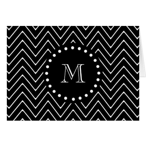 Monograma negro negro del modelo el   de Chevron Tarjeta De Felicitación