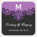Monograma negro púrpura de encargo del vintage que calcomania cuadradas personalizadas