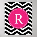 Monograma negro rosado de Chevron Impresiones