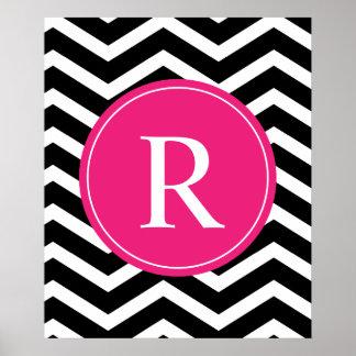 Monograma negro rosado de Chevron Póster