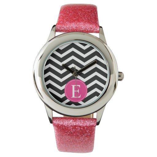 Monograma negro rosado de Chevron Reloj