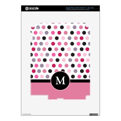 Monograma negro rosado de la raya de los lunares pegatina skin para iPad 3