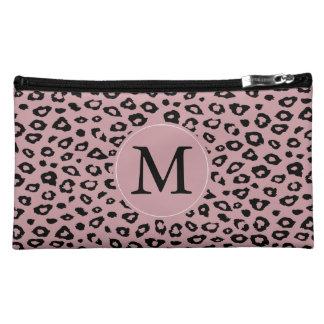 Monograma negro rosado del estampado leopardo