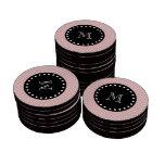 Monograma negro rosado del modelo el   de Chevron Fichas De Póquer