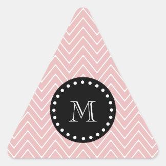Monograma negro rosado del modelo el | de Chevron Colcomanias Trianguladas Personalizadas