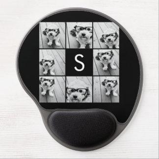Monograma negro sólido del personalizado del colla alfombrillas de raton con gel