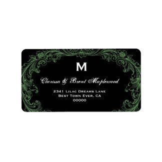 Monograma negro verde de cuero elegante B453 del v Etiqueta De Dirección