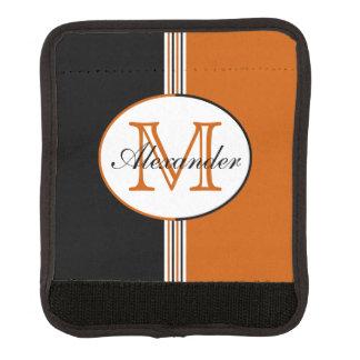 Monograma negro y anaranjado rayado funda para asa de maleta