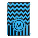 Monograma negro y azul de Chevron Fundas De iPad Mini Retina