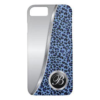 Monograma negro y azul marino del estampado funda iPhone 7
