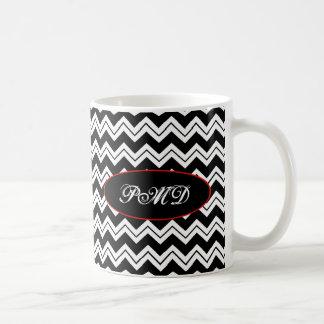 Monograma negro y blanco Chevron Zizzag de la Taza De Café