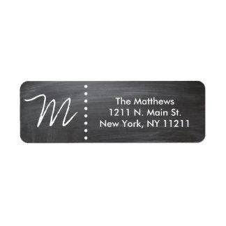 Monograma negro y blanco clásico de encargo de la etiqueta de remitente