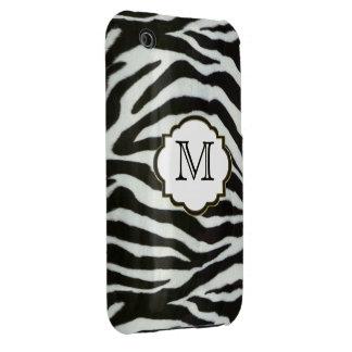Monograma negro y blanco elegante de la cebra iPhone 3 Case-Mate cobertura